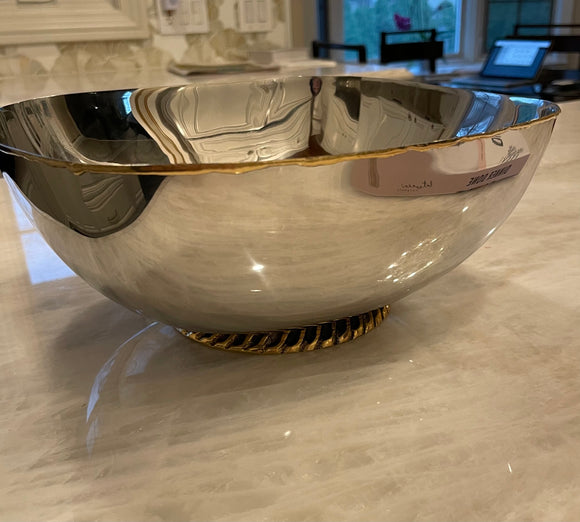 Square Stainless Steel Bowl with Gold Base