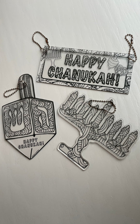 Lucite Color It Chanukah Decorations Set Of 3