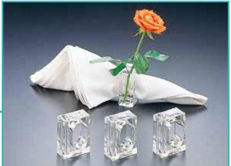 Lucite Bud Vase And Napkin Ring In One (Set Of 4)