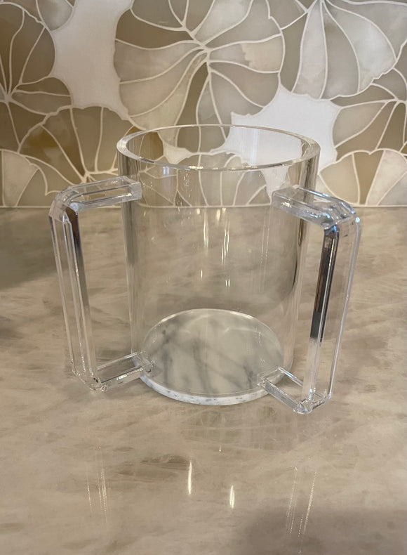 Lucite Washing Cup With Marble Bottom