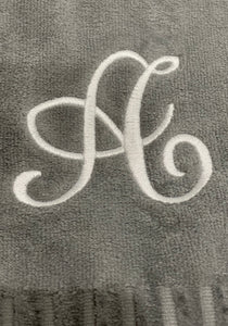 Finger Towel Grey W/ White Initial