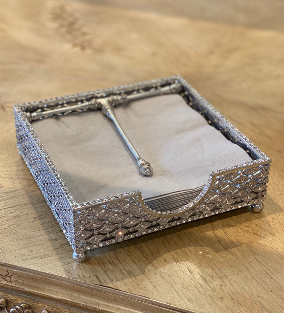 Napkin holder with Crystals Silver