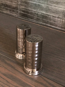 Hammered Salt/Pepper Shakers With Base