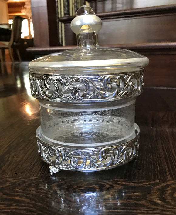 Engraved Silver Glass Jar