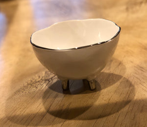 Footed Porcelain Bowl With Silver Rim
