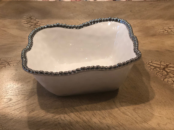 Square Ceramic Bowl With Silver Beaded Rim