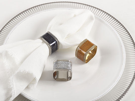 Sparkling  sq napkin rings silver set of 4