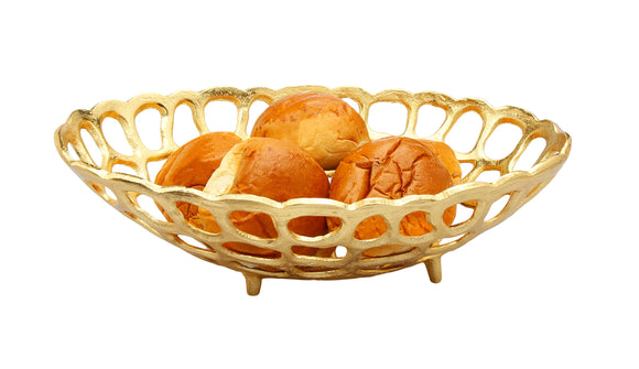 Oval Gold Looped Bread Basket