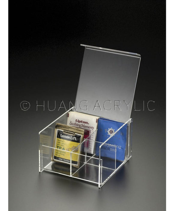 LUCITE 4-COMPARTMENT TEA BAG BOX
