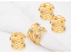 Gold NAPKIN RINGS with Crystal stones