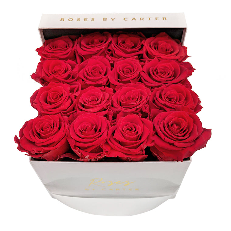 White Lux Box - Classic Red 1 Year Roses