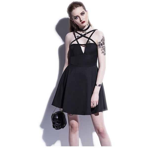 Black Pentagram  Mini Dress - EDM Clothing Company