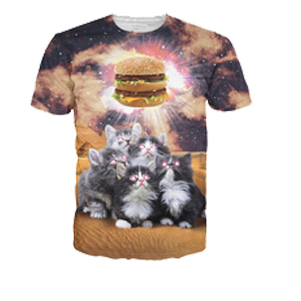 Kitten Worshipping Hamburger Sublimation T-shirt Men/Women - EDM Clothing Company