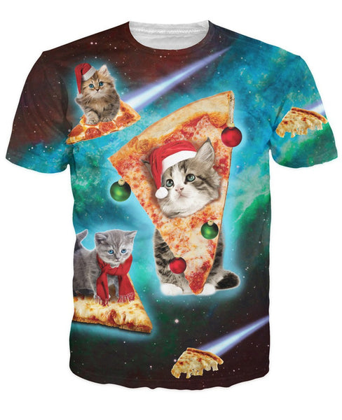 Pizza Cat Christmas Edition Sublimation T-shirt Men/Women - EDM Clothing Company