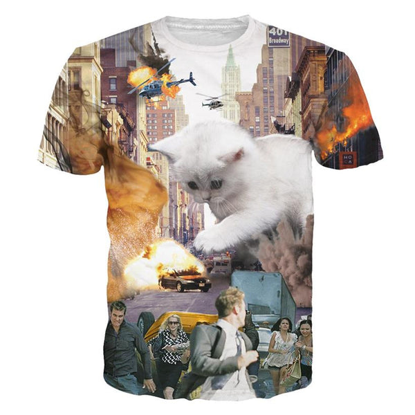 Kittenzilla Cat Sublimation T-shirt Men/Women - EDM Clothing Company