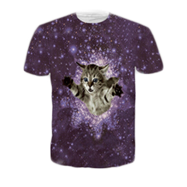 Kitten in Space Sublimation T-Shirt Men/Women - EDM Clothing Company