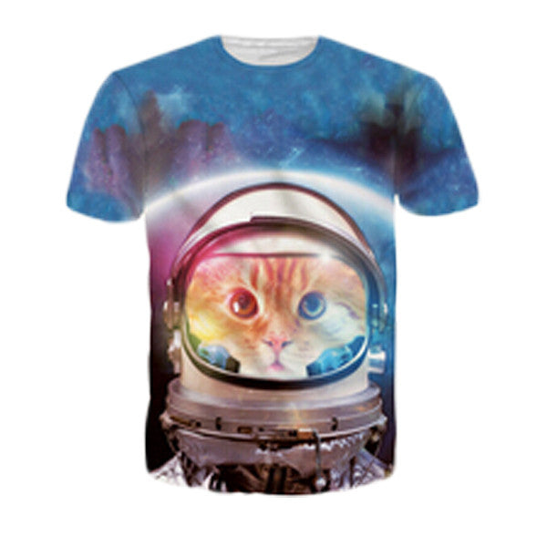 Astronaut Cat Sublimation T-Shirt Men/Women - EDM Clothing Company