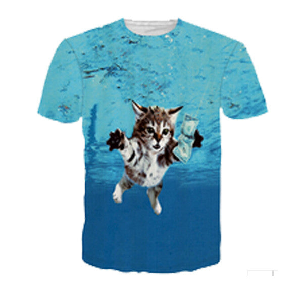 Nirvana Nevermind Cat Chasing Dollar Sublimation T-Shirt Men/Women - EDM Clothing Company