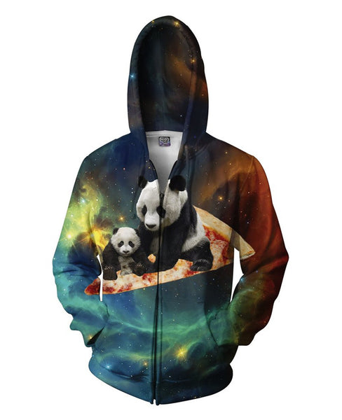 Panda Riding a Pizza Zip Up Hoodie Men/Women - EDM Clothing Company