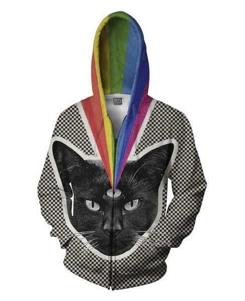Third Eye Cat Sublimation Print Zip Up Hoodie Men/Women - EDM Clothing Company