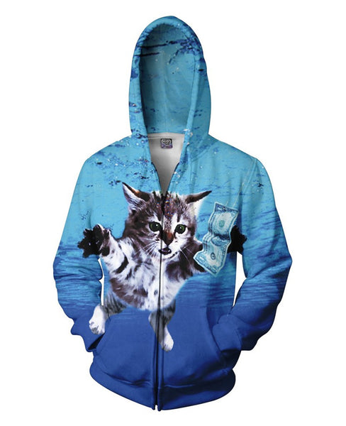 Nirvana Nevermind Swimming Cat Chasing Dollar All Over Print Zip Up Hoodie Men/Women - EDM Clothing Company