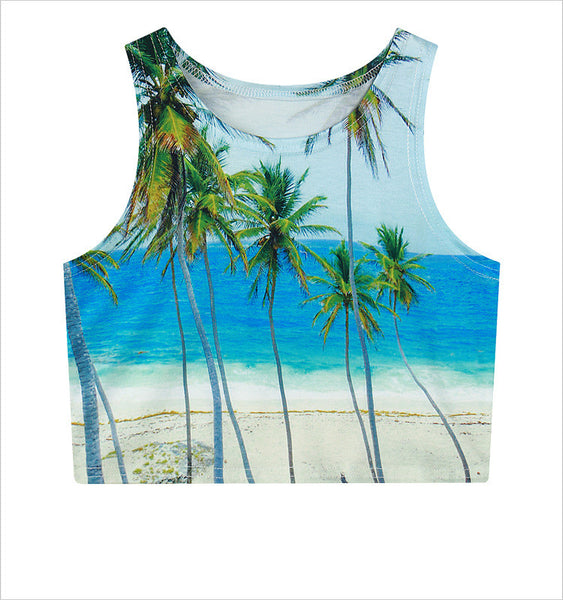 Palm Trees Crop Top - EDM Clothing Company