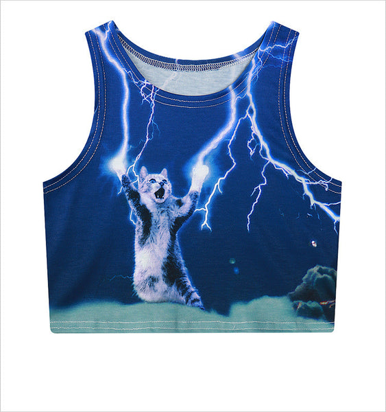 Thunder Cat Lightning Cat Crop Top - EDM Clothing Company