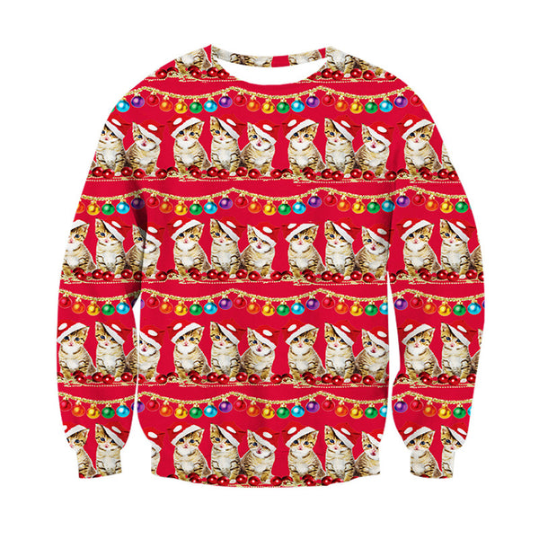 a500050a Meowy Christmas Cat Ugly Christmas Sweater Men/Women | EDM Clothing Company