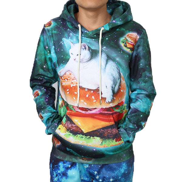 Fat Galaxy Cat on a Cheeseburger Hoodie Men Women - EDM Clothing Company