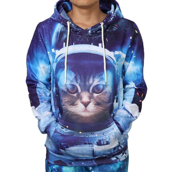 Galaxy Cat Astronaut Hoodie Men Women - EDM Clothing Company