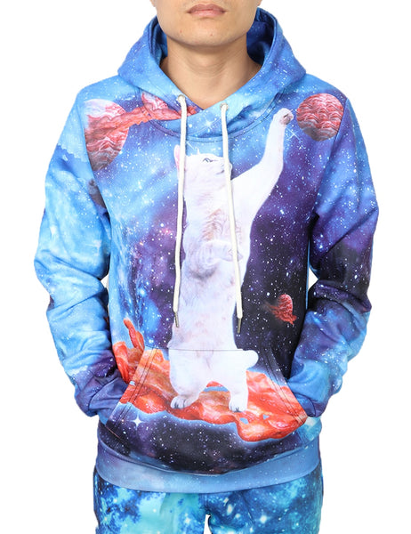 Galaxy Cat Batting Planets Hoodie Men Women - EDM Clothing Company