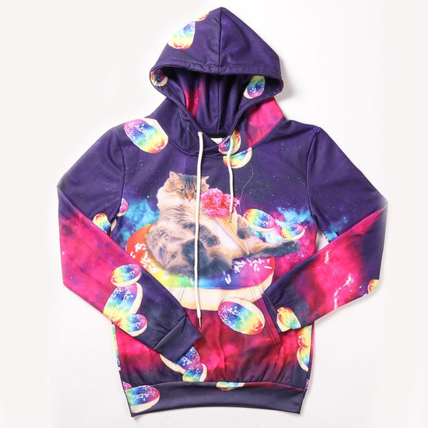 Rainbow Doughnut Cat Hoodie Men Women - EDM Clothing Company
