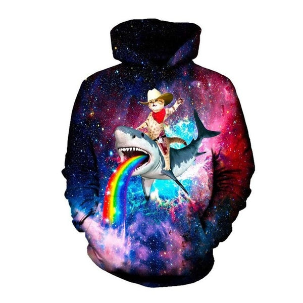 Galaxy Cat Riding a Shark Barfing a Rainbow Hoodie Men Women - EDM Clothing Company