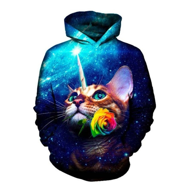 Galaxy Unicorn Cat Unisex Hoodie - EDM Clothing Company