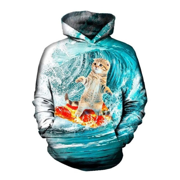 Pizza Surfing Cat Hoodie Men Women - EDM Clothing Company