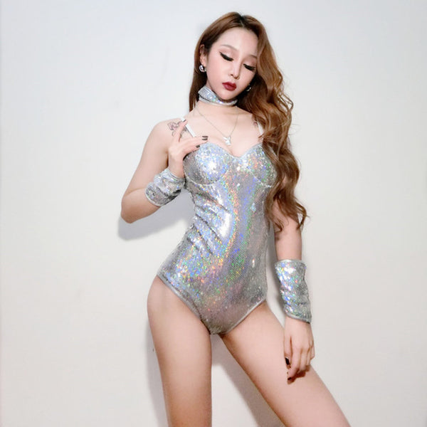 Holographic 5 Piece Set: Top, Bottom, Wrist Cuffs and Choker - EDM Clothing Company