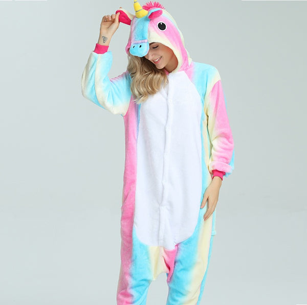 Pink and blue striped unicorn onesie - EDM Clothing Company