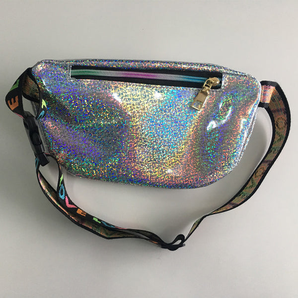 Silver reflective iridescent fanny pack - EDM Clothing Company