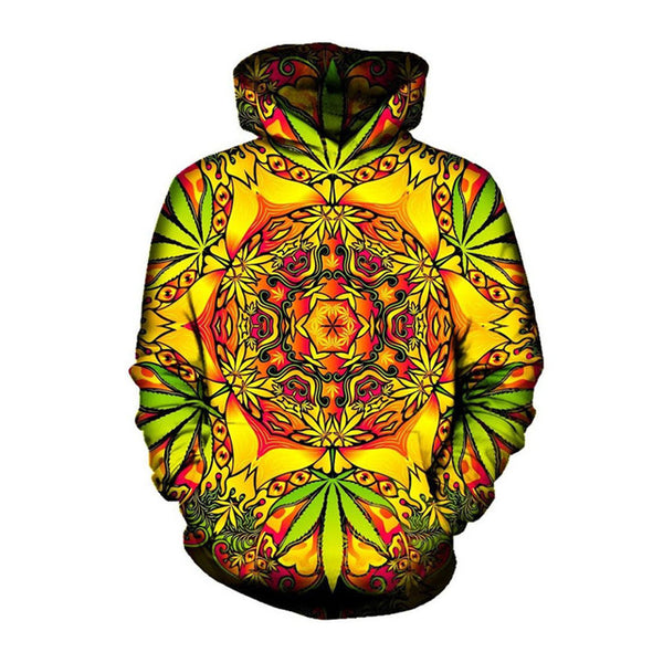 Yellow Orange Psychedelic Weed Hoodie Men/Women - EDM Clothing Company