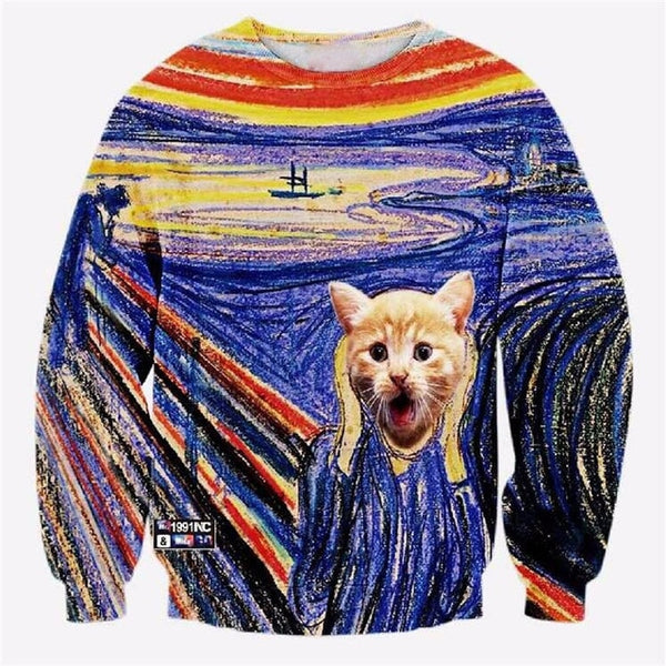 """The Scream"" Cat Version of the Famous Painting Sweatshirt for Men Women - EDM Clothing Company"