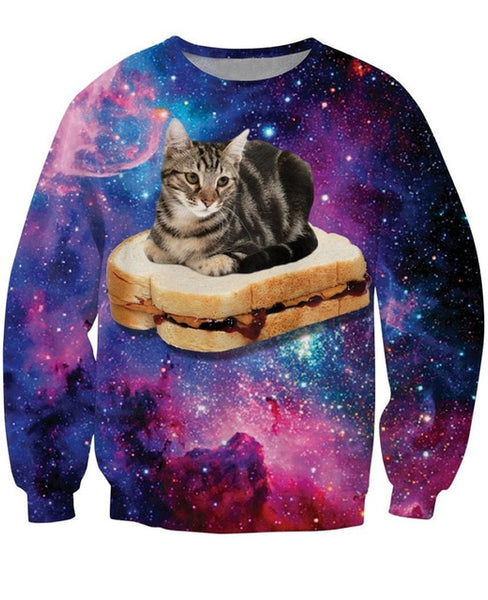 Galaxy Cat Sitting on Peanut Butter and Jelly Sandwich Sweatshirt Men Women - EDM Clothing Company