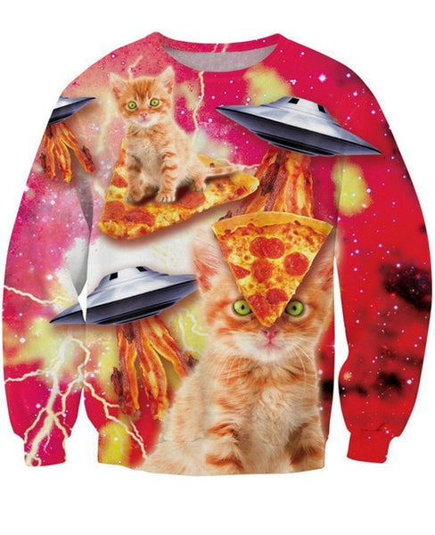 Pizza Cat and Flying Saucers on Red Sweatshirt Men Women - EDM Clothing Company