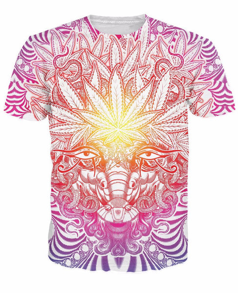Cannabis God Psychedelic Sublimation Print Unisex T-shirt - EDM Clothing Company