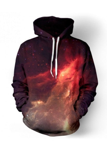 Red Nebula Pullover Sublimation Hoodie Men/Women - EDM Clothing Company