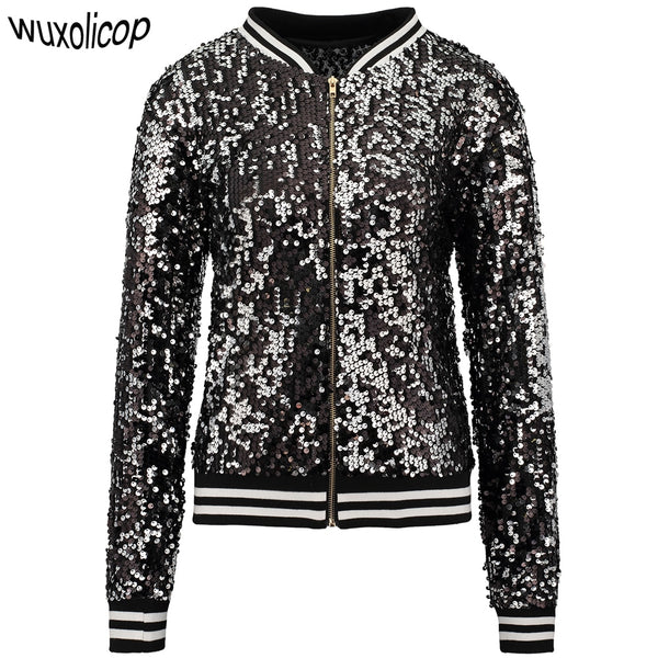 Sequined Women's Bomber Jacket - EDM Clothing Company