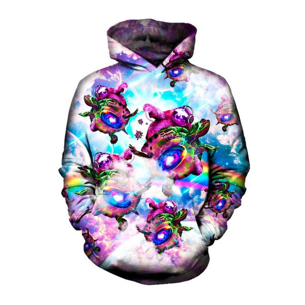 Sloth Riding a Turtle Sky Print Pullover Hoodie for Men Women - EDM Clothing Company