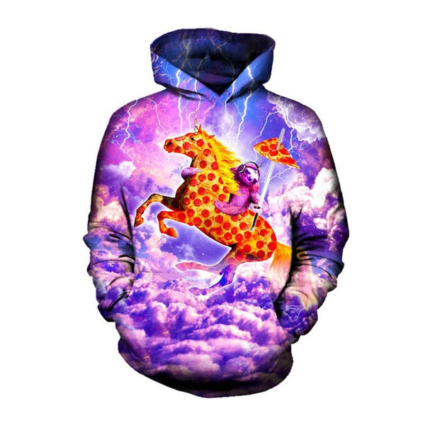 Sloth Riding Pizza Unicorn Cloud Print Pullover Hoodie - EDM Clothing Company