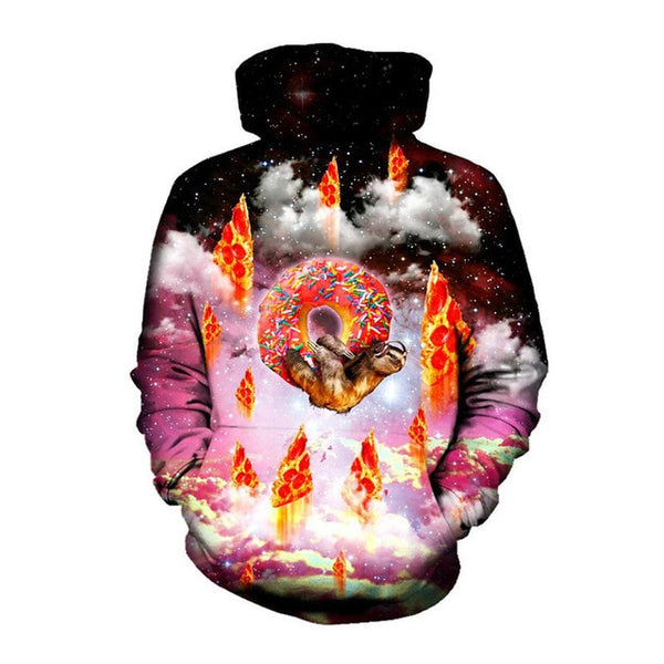 Sloth Riding Doughnut with Pizza Rockets Galaxy Print Pullover Hoodie - EDM Clothing Company