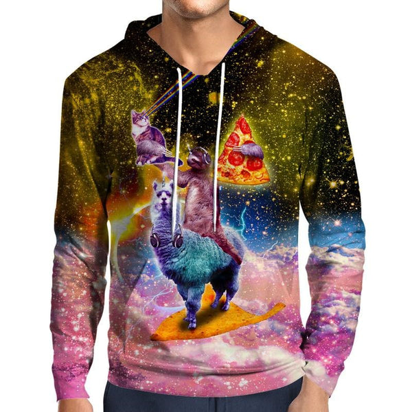 Pizza Llama Cat Sloth Galaxy Print Pullover Hoodie - EDM Clothing Company