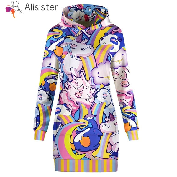 Unicorn and Friends Barfing Rainbows Hoodie Sweatshirt Dress Women - EDM Clothing Company